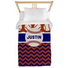 Baseball Blue Red Personalized Twin Duvet