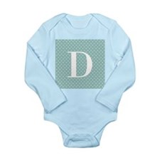 D Initial on Blue and White Body Suit