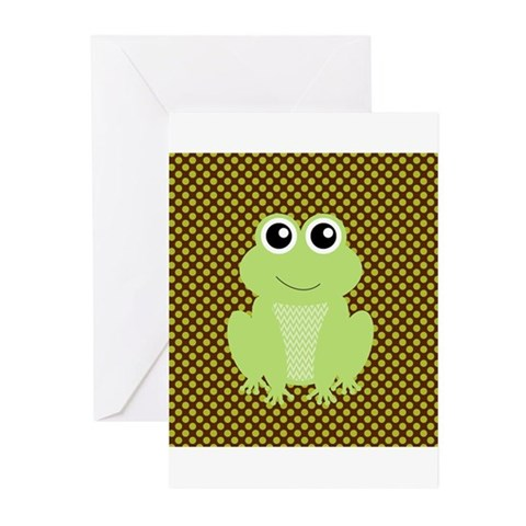 Frog on Green and Brown Greeting Cards