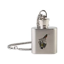A Bat and a Robin Flask Necklace