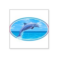"Cute Dolphin Square Sticker 3"" x 3"""