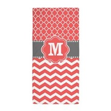 Coral Gray Chevron Quatrefoil Monogram Beach Towel