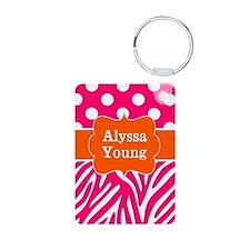 Pink Orange Dots Zebra Personalized Keychains