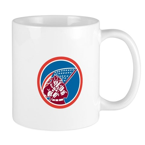 American Patriot Holding Flag Circle Mugs