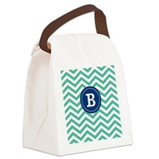 Green Navy Chevron Monogram Canvas Lunch Bag