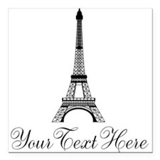 """Personalizable Eiffel Tower Square Car Magnet 3"""" x"""