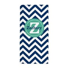 Green Navy Chevron Personalized Beach Towel