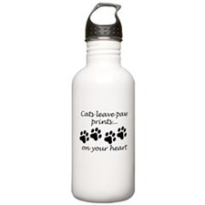 Cats Leave Paw Prints On Your Heart Water Bottle