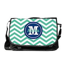 Green Navy Chevron Personalized Messenger Bag