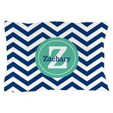 Navy Green Chevron Personalized Pillow Case
