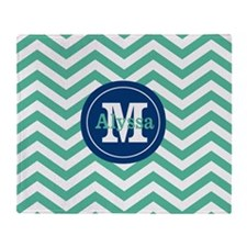 Green Navy Chevron Personalized Throw Blanket