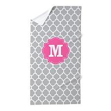 Gray Pink Quatrefoil Monogram Beach Towel