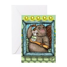 Beaver Brush Greeting Cards
