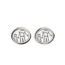 Father and Son Drawing Oval Cufflinks