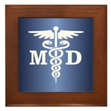 Caduceus MD (blue) Framed Tile