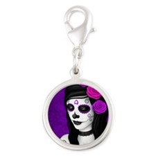 Day of the Dead Girl with Purple Roses Charms