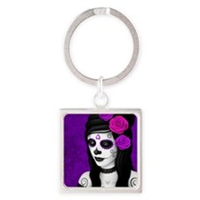 Day of the Dead Girl with Purple Roses Keychains
