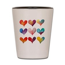 HEARTS IN WATERCOLOR Shot Glass