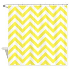 Lemon Yellow chevrons Shower Curtain