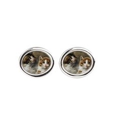 Two kittens in a basket painting Oval Cufflinks