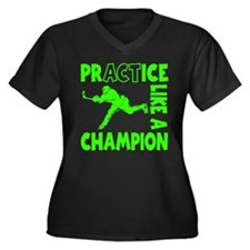 HOCKEY CHAMP Women's Plus Size V-Neck Dark T-Shirt