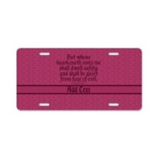 Proverbs 1 33 The Word rose Aluminum License Plate