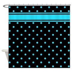 Teal polka dot shower curtains