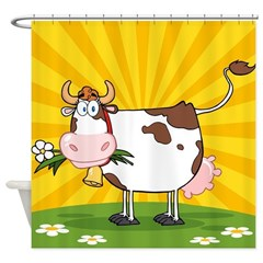 Cute cartoon cow shower curtains