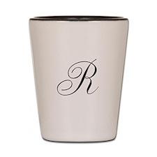 R Initial in Black Script Shot Glass