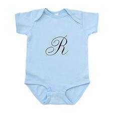 R Initial in Black Script Body Suit
