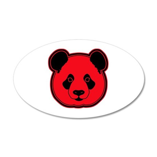 panda head red 02 35x21 Oval Wall Decal