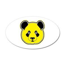 panda head yellow 01 35x21 Oval Wall Decal