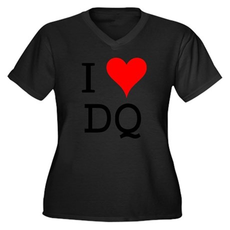 I Love DQ Women's Plus Size V-Neck Dark T-Shirt