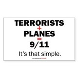 Terrorists+planes=9/11: Rectangle  Aufkleber