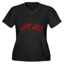Werewolf Halloween Women's Plus Size V-Neck Dark T