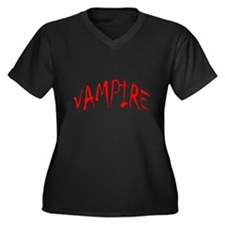 Vampire Halloween Womens Plus Size V-Neck Dark Tee
