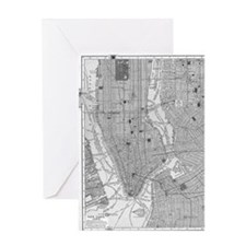 Vintage Map of Manhattan NYC Greeting Card