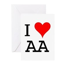 I Love AA Greeting Cards (Pk of 10)