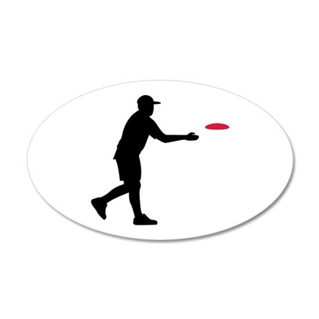 Disc golf player 35x21 Oval Wall Decal