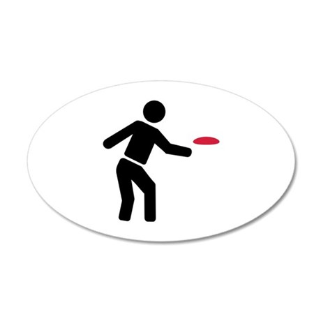 Disc golf player 20x12 Oval Wall Decal