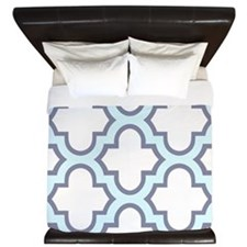 Light Blue Quatrefoil Pattern King Duvet