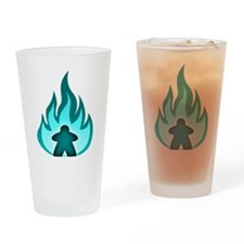 Fire Meeple Blue Drinking Glass