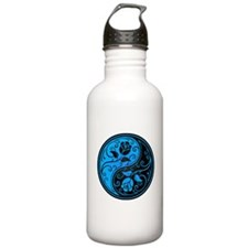 Blue and Black Yin Yang Roses Water Bottle