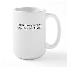 Guardian angel crackhead - black text Mugs
