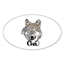 Cherokee Wolf Sticker (oval)