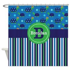Blue Green Turtles Personalized Shower Curtain