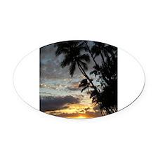 Hawaiian Sunset Oval Car Magnet