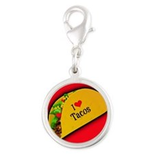 I Love Tacos - red backgound Silver Round Charm