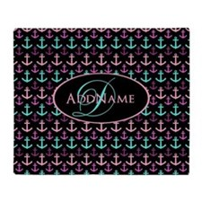 Anchors Aweigh Monogram Throw Blanket