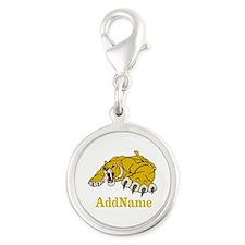 Tiger Roar Custom Silver Round Charm